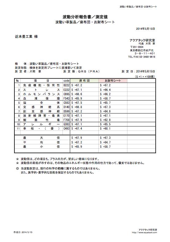 検査機関波動測定結果表